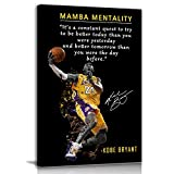 NBA Basketball Player Sports Home Decor • Kobe Bryant Mamba Mentality Quote Poster Inspirational Canvas Wall Art • Motivational Artwork For Home,Office,Gym Wall Decor Framed Ready to Hang