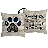 HUYAW You and Me and The Dogs Dog Paw Camper Reversible Throw Pillow Cover, Camping Camper Dog Lover Gifts for Women Men, Camping Pillow Case 18 x 18 Inch Home RV Camper Bed Sofa Decor