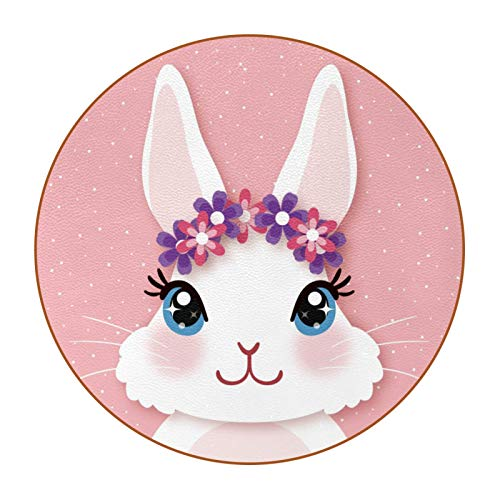 Housewarming Gift DIY Pattern Super Fiber Leather Round Coaster For Home Kitchen Office Cute White Bunny With Garland Pink Background