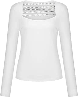 Women's Sexy Cut Out Off Shoulder Slim Long Sleeve Strap Top Shirt Blouse, Crew Neck Open Front Crop Top Tee