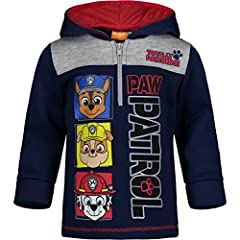 """Screen printed Paw Patrol design with puff ink; contrast upper front Featuring Chase, Rubble and Marshall with the words """"Totally Pawsome"""" Half-zip hoodie; comfy hood lining Perfect for birthday gift, outdoor play or every day wear Machine wash cold;..."""