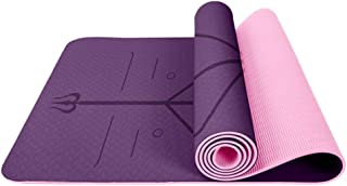 Eco-Friendly TPE Double-Sided Non-Slip Waterproof 183cm61cm6mm Yoga Exercise Mat with Body Alignment Lines for Yoga, Pilates, Dance, Gym, Treadmills, Aerobic, Gymnastics, Fitness and Floor Exercise