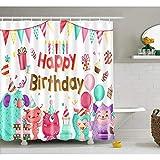 Fvfbd 3D Digitaldruck Alles Gute zum Geburtstag Duschvorhang Wasserdicht Anti-Schimmel Textil Waschbar Anti-Bakteriel mit 12 Ringe für Badezimmer-180 x 180cm