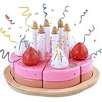 Tarta Cumpleaños Juguete Comida Cocina de Madera 25 Piezas con Velas Decoración Alimentos Pasteles Juguete Accesorios de Cocina Juegos de Rol Juguetes Regalo de Cumpleaños para Niños Niñas 3+ Años