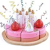 Geburtstagskuchen Holz Rollenspiel Geburtstagstorte Holzspielzeug 25 Teilig mit Kerzen Deko Kinder Küchenspielzeug Lebensmittel Kinderküche Zubehör Geburtstags Geschenk für Jungen Mädchen 3+ Jahren