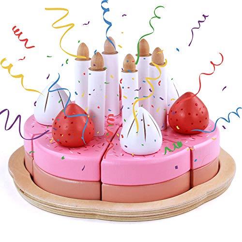 Tarta Cumpleaños Juguete Comida Cocina de Madera 25 Piezas