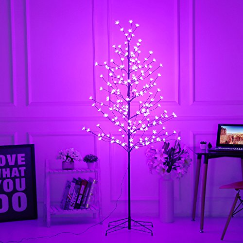Bolylight LED Cherry Blossom Tree 6ft 208L and Indoor and Outdoor Decoration Lighted Tree for Bedroom/Party/Wedding/Office/Home Light Purple