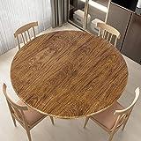 LUSHVIDA Round Waterproof Table Cover Elastic Tablecloth Vinyl Fitted Table Cover Elastic Edged Plastic Table Cover Fits Tables up to 36