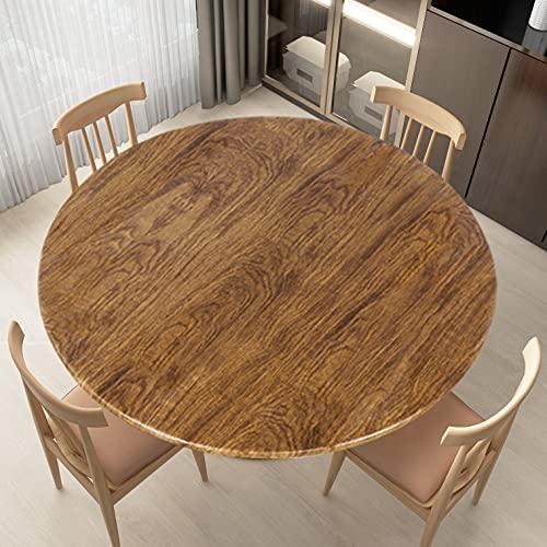 LUSHVIDA Round Waterproof Table Cover Elastic Tablecloth Vinyl Fitted Table Cover Elastic Edged Plastic Table Cover Fits Tables up to 36'-44' R Oak