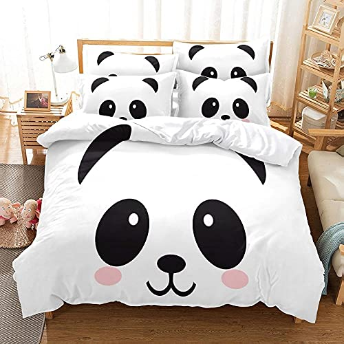 QHDXL Funda de Edredón 220x240 Panda Lindo Blanco Juego de Ropa de Cama 1 Microfibra Funda Nórdica y 2 Fundas de Almohada 50x75,Fundas Nórdicas Suave y Transpirable