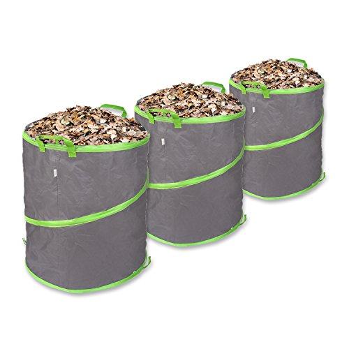 Schramm® 3 Stück Pop Up Gartensäcke 137L Grün/Grau Polyester Oxford Selbst Aufstellend Gartensack Pop UP Garten Sack Säcke Big Bag