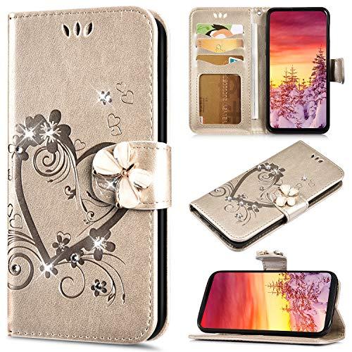 Saceebe Compatible avec iPhone 6S 4.7 Coque en PU Cuir Etui Pochette Portefeuille à Rabat Cover Brillante Glitter Amour Cœur Fleur Motif Flip Case Magnétique Téléphone Housse,Or