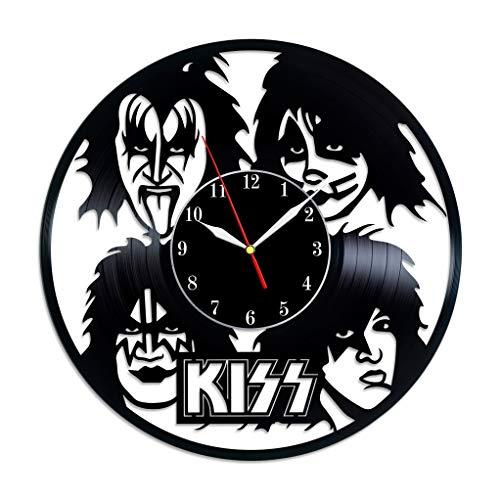 BombStudio Kiss Vinyl Record Wall Clock, Kiss Handmade for Kitchen, Office, Bedroom. Kiss Ideal Wall Poster