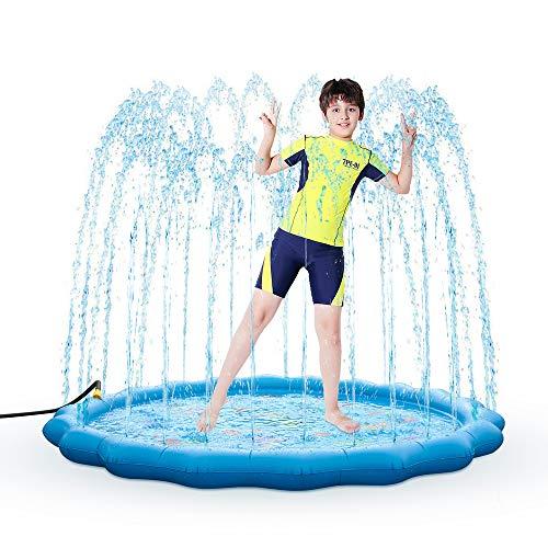 BunnyPony - Almohadilla de rociador para niños de 68 pulgadas, alfombrilla de juego inflable para niños pequeños juguetes de agua divertidos para niños de 1 2 3 4 5 6 7 8 años...
