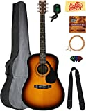 Yamaha F325D Dreadnought Acoustic Guitar - Tobacco Sunburst Bundle with Gig Bag, Tuner, Strings, Strap, Picks, Austin Bazaar Instructional DVD, and Polishing Cloth