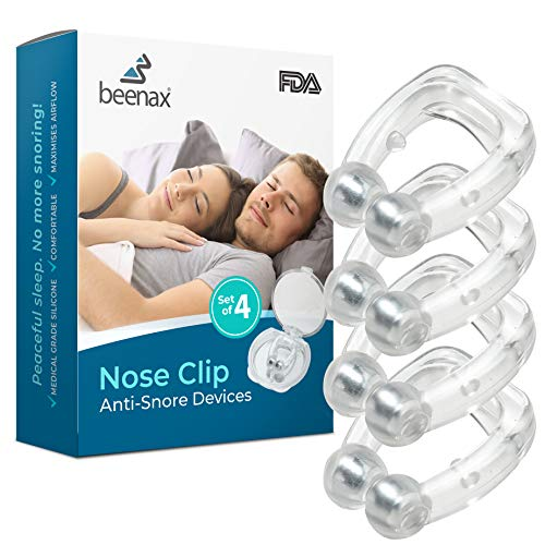 Beenax Anti Snore Devices 4Pcs - Upgraded Version 2020 - Silicone Magnetic Nose Clip, Stop Snoring Relief Nasal Dilator, Mute Aids for Men or Women - Made to Promote Breathing and Comfortable Sleep