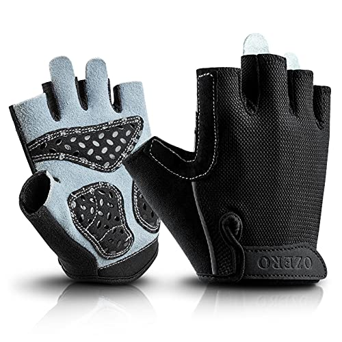 OZERO Weight Lifting Gloves Extra Grip Thick Leather Palm and Non-Slip Gel Pads, Half Finger Gym Glove for Weightlifting/Workout/Road Bike/Motorcycle Riding - Fit for Men and Women Black Medium