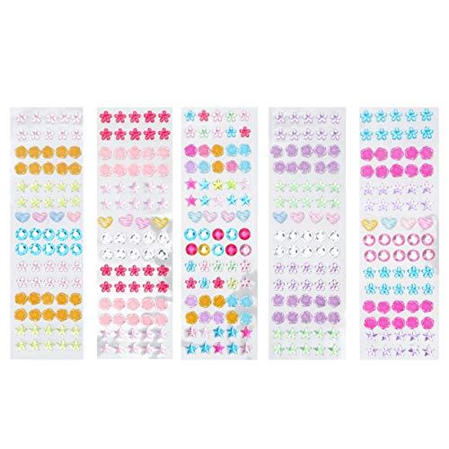 SUPVOX 5 hojas de pendientes para niñas con piedras preciosas 3D autoadhesivas brillantes para niñas