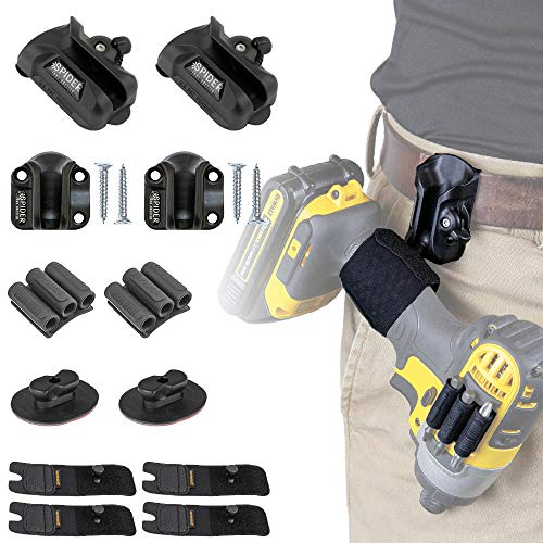 Spider Tool Holster - PRO Tool KIT - 12 Piece Set your power drill, driver, multitool, pneumatic, multi-tool and more on your belt!