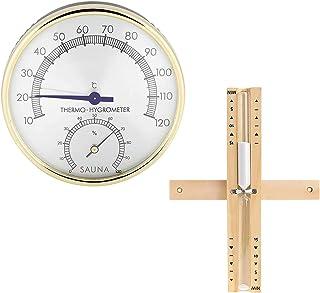 Komake Sauna Thermomètres Hygromètres et Sabliers, Mifive Minuterie de 15 Minutes 2 en 1 Thermomètre Hygromètre de Salle d...