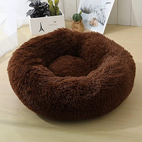 Tivivose Super Soft Dog Bed Sofa Plush Cat Mat Dog Beds For Labradors Large Dogs Bed House Pet Round Cushion Best Dropshipping (Color : Coffee, Size : L 70cm)