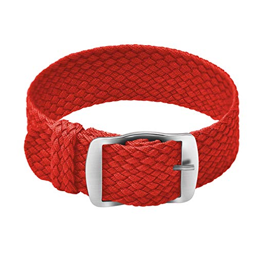 ULLCHRO Unisex Perlon Nylon Armband mit Edelstahl Silberne Schnalle 20mm Rot