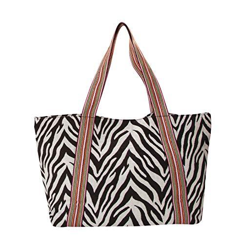 CODELLO Damen XL-Shopper mit Zebra-Dessin aus Canvas