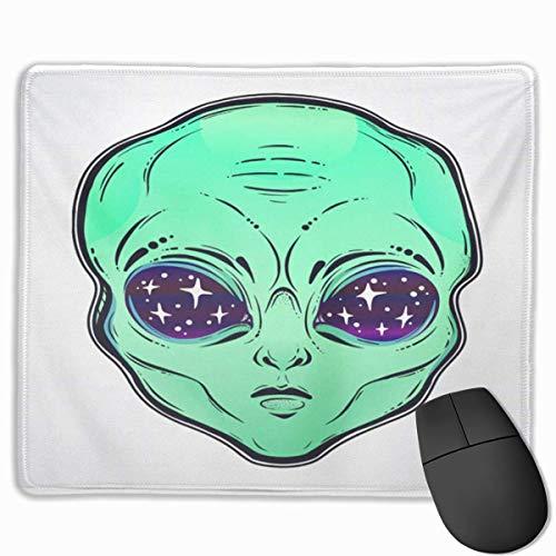 Nettes Gaming-Mauspad, Schreibtisch-Mauspad, kleines Mauspad für Laptop-Computer, Mausmatte Alien-Kopf Sternenhimmel Raum innerhalb der Stiftabzeichen Cartoon Paranormal Surreal Face