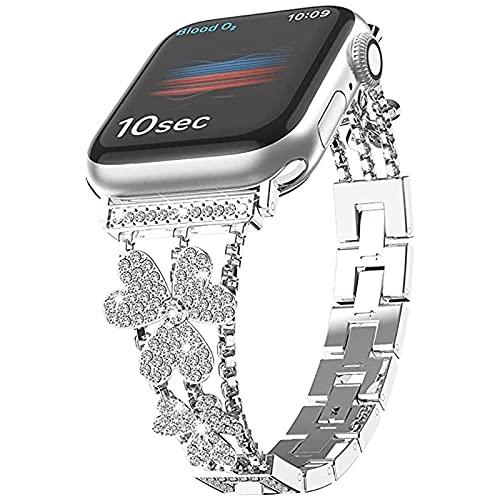 La Correa es Compatible con la Serie Apple Watch SE 6 5 4 3, la Pulsera Femenina Correa de Repuesto de Acero Inoxidable es Compatible con la Serie iWatch 38mm/40mm/42mm/42mm, (38mm or 40mm,Silver)