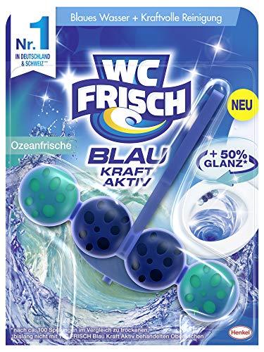 WC FRISCH Kraft Aktiv Blauspüler Ozeanfrische, WC-Reiniger, 1 Stück, Farbspüler mit 50 Prozent mehr Glanz