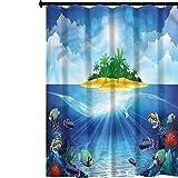 YUAZHOQI Juego de cortinas de ducha con ganchos para acuario, palmeras tropicales islas tropicales, juego de cortina de ducha con 12 ganchos, 183 x 198 cm