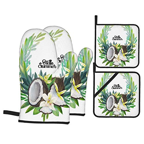 Dfform Oven Mitts and Pot holders 4pcs Set,Watercolor Vanilla Flowers Coconut Floral Wreath Heat Resistant Cooking Gloves for Kitchen,Baking,Grilling
