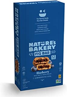 Nature's Bakery Whole Wheat Fig Bars, Blueberry, Real Fruit, Vegan, Non-GMO, Snack bar, 1 box with 12 twin packs (12 twin ...