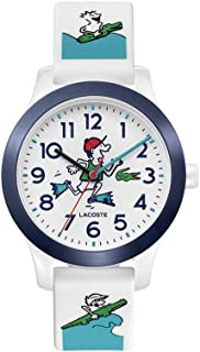 Kids' Lacoste.12.12 Quartz Watch with Silicone Strap, White and Blue, 14 (Model: 2030029)