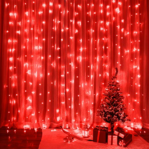 SUNNEST LED Curtain Lights, USB Curtain String Lights with 8 Lighting Modes, 300 LEDs, 9.8FT x 9.8FT Wall Lights with Remote Control, Twinkle Lights for Bedroom Decoration (Red)