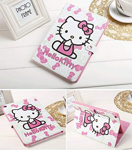 Apple iPad 9.7 Hülle 2017 2018 iPad 5. 6. Generation A1822 A1823 A1893 A1954, Hello Kitty Design Folio Style PU Leder Hartschale für Apple New iPad 9.7 Zoll Hülle 2018 2017 Generation, Pink