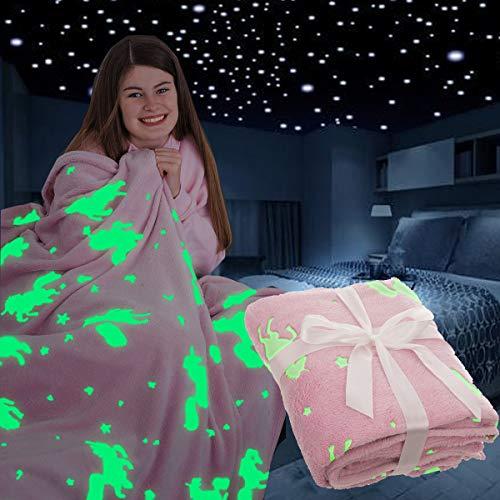 FiNeWaY Glow in the Dark Überwurfdecke Flanell Mond Stern Einhorn Geschenke für Kinder Mädchen Jungen Erwachsene Schlafzimmer gemütlich warm super weich Plüsch Fleece Kunstfell (Einhorn Pink)