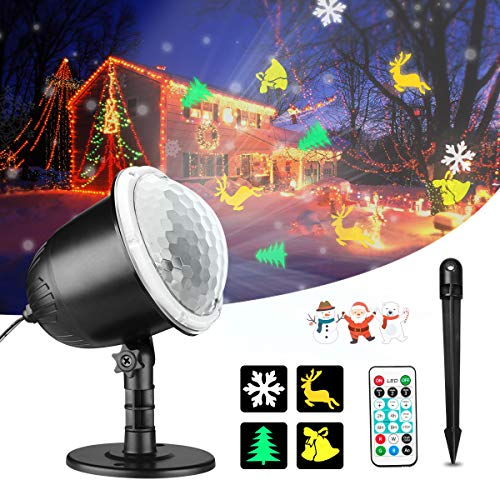 Christmas Projector Lights, Gemwon Holiday Lights with Remote Control & Moving Patterns, Outdoor Waterproof Decorative Lights for Xmas, Parties, House