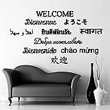 BFMBCH Idioma nacional Bienvenido Pegatinas de pared Vinilo Dormitorio Kindergarten Muebles de sala Personalidad decorativa Pegatinas de pared Negro XL 57cm X 100cm