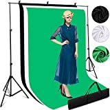 Fotografie Hintergrund Unterstützende Ständer Kit, 3mx2m Verstellbare Hintergründe für Fotostudios mit 3 Bildschirmen 2m*1.6m Weiß Schwarz Grün, Stabilem Stativ, Tragetasche für Foto und Videoaufnahme
