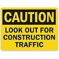 注意建設交通に注意してください。金属錫標識耐久性、耐水性、セキュリティを警告する道路交通の危険を通知します