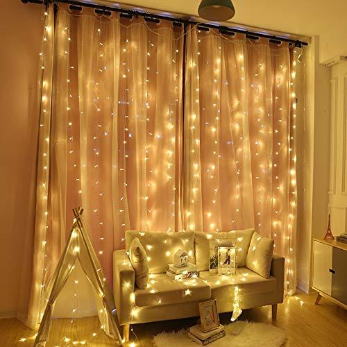 Tira de luces LED de 6 m para cortina, hada, icicle, Navidad, boda, fiesta, patio, ventana, exterior, cadena de luz decorativa