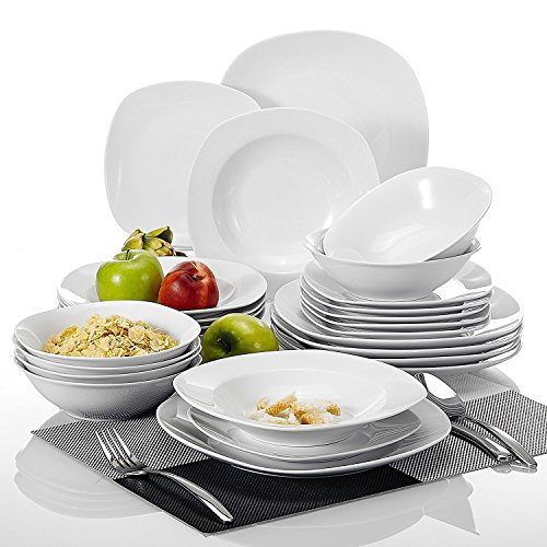 MALACASA, Series Elisa, 24-Piece Dinner Sets White Porcelain Dinner Set with 6-Piece 6.7' Cereal Bowl, 6-Piece 9.75' Dinner Plate, 6-Piece 7.5' Dessert Plate and 6-Piece 8.5' Soup Plate Service for 6