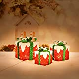 Iceberg Effect Christmas Lighted Gift Boxes, Set of 3 Indoor Outdoor Present Box for Pathway Home Yard X-mas Holiday Party Decorations (Red/White/Green)