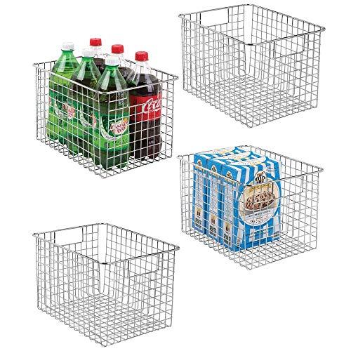 mDesign Large Heavy Duty Metal Wire Storage Organizer Bin Basket, Built-In Handles for Food Storage, Kitchen Cabinet, Pantry, Closet, Bedroom, Bathroom, Garage - 12 x 9 x 8, Pack of 4, Chrome