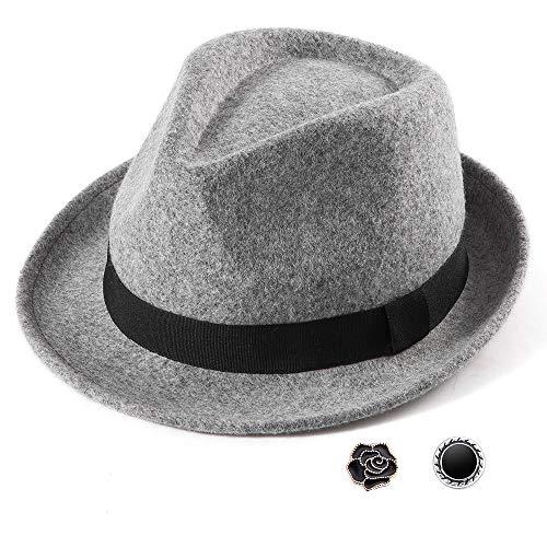 LADYBRO Mens Hats Wool Fedora Hat for Men Trilby Hat Teen Fedora Hats Panama Hat