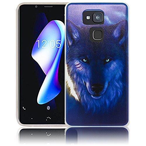 Bq Aquaris V Plus Passend Nacht Wolf Handy-Hülle Silikon - staubdicht, stoßfest & leicht - Smartphone-Case