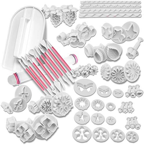 MoNiRo Fondant Ausstecher Set Large - Ausstechformen zum Backen - Modellierwerkzeug für Torten Deko - Back Zubehör & Fondant Werkzeug - Fondant Formen - Ausstecher für Fondant Blumen