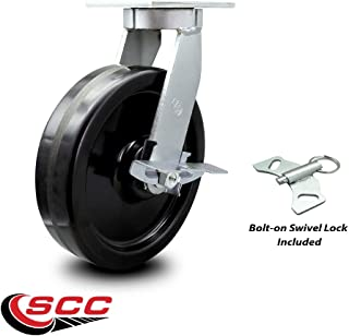 "Extra Heavy Duty Kingpinless 10"" x 3"" Phenolic Swivel Caster with Brake and Bolt on Swivel Lock - 2,900 lbs/Caster - Service Caster Brand"