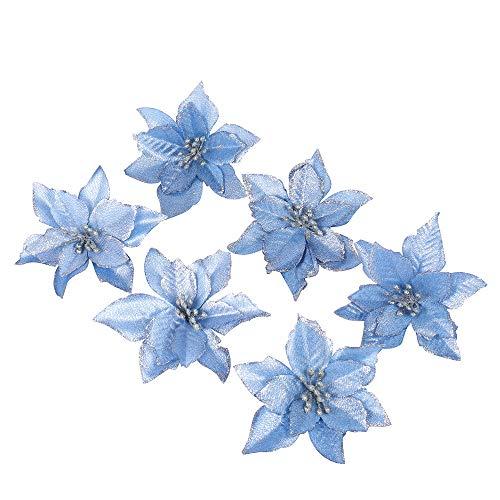 6 Pezzi Scintillare Fiori Artificiali Per La Decorazione, Addobbi Albero Di Natale, Luccichio, Blu Poinsettia, 13Cm(5.1')